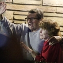 FILE - In this Nov. 9, 2011 file photo, former Penn State Coach Joe Paterno and his wife, Sue Paterno, stand on their porch to thank supporters gathered outside their home in State College, Pa. Breaking more than a year of silence, Sue Paterno is defending her late husband as a