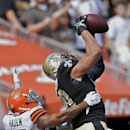 New Orleans Saints tight end Jimmy Graham grabs a 9-yard touchdown pass against Cleveland Browns cornerback Joe Haden in the second quarter of an NFL football game Sunday, Sept. 14, 2014, in Cleveland The Associated Press