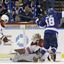 Tampa Bay Lightning left wing Ondrej Palat (18), of the Czech Republic, beats Phoenix Coyotes goalie Mike Smith (41) and defenseman Zbynek Michalek (4), of the Czech Republic, for a goal during the third period of an NHL hockey game, Monday, March 10, 201