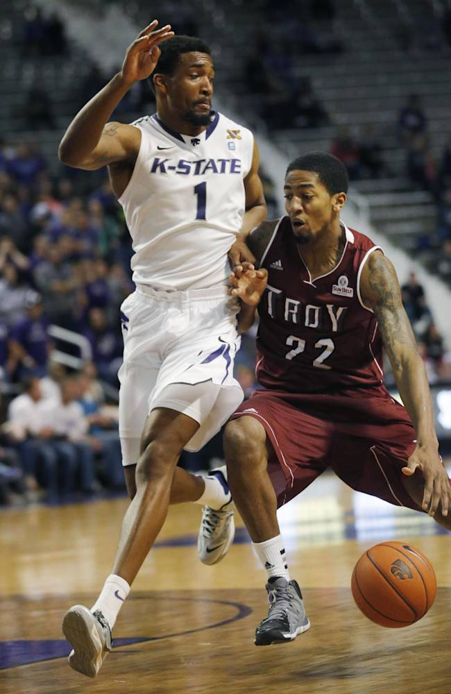 Troy forward Tevin Calhoun (22) is covered by Kansas State guard Shane Southwell (1) during the first half of an NCAA college basketball game at Bramlage Coliseum in Manhattan, Kan., Sunday, Dec. 15, 2013