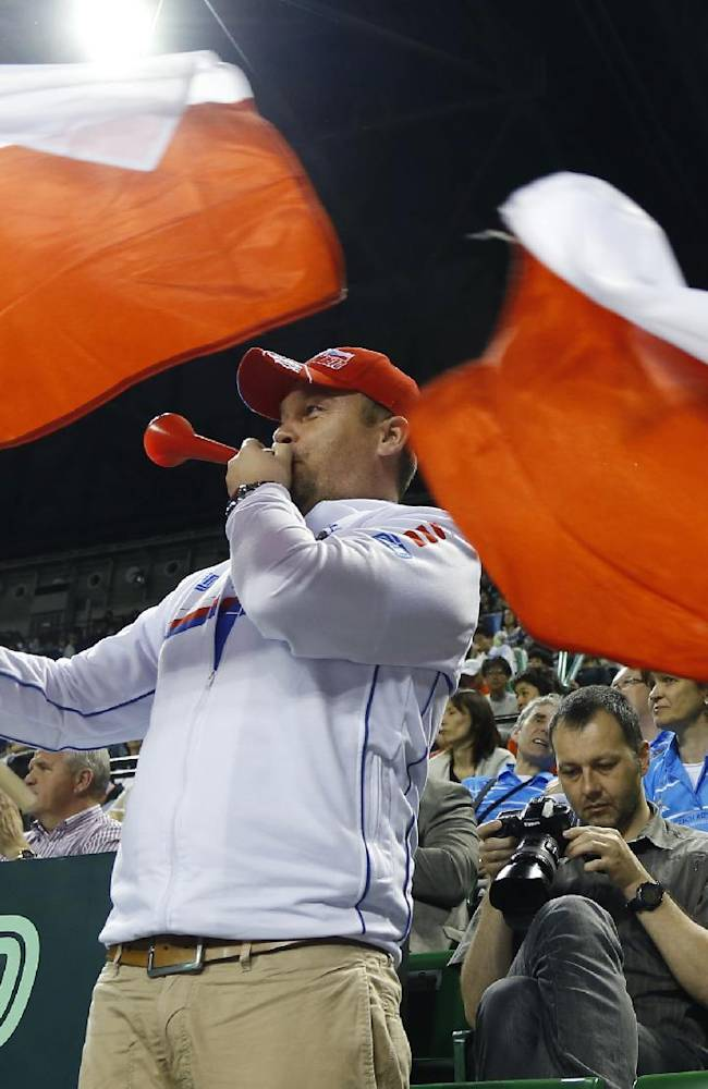 Supporters of the Czech Republic cheer during the quarterfinal of Davis Cup World Group tennis at Ariake Colosseum in Tokyo, Friday, April 4, 2014