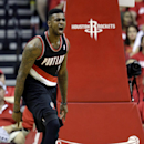 Portland Trail Blazers' Dorell Wright (1) reacts after making a basket against the Houston Rockets during the third quarter in Game 2 of an opening-round NBA basketball playoff series Wednesday, April 23, 2014, in Houston. Portland won 112-105 The Associa