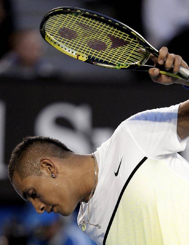 Nick Kyrgios of Australia reacts as he plays Andy Murray of Britain during their quarterfinal match at the Australian Open tennis championship in Melbourne, Australia, Tuesday, Jan. 27, 2015