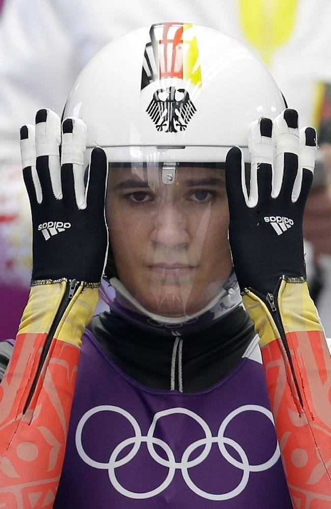 Natalie Geisenberger of Germany prepares to start during a training session for the women's singles luge at the 2014 Winter Olympics, Saturday, Feb. 8, 2014, in Krasnaya Polyana, Russia