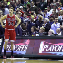 MILWAUKEE, WI - APRIL 30: Mike Dunleavy #34 of the Chicago Bulls walks onto the court before the start of the game against the Milwaukee Bucks during the first round of the 2015 NBA Playoffs at the BMO Harris Bradley Center on April 30, 2015 in Milwaukee, Wisconsin. (Photo by Mike McGinnis/Getty Images)