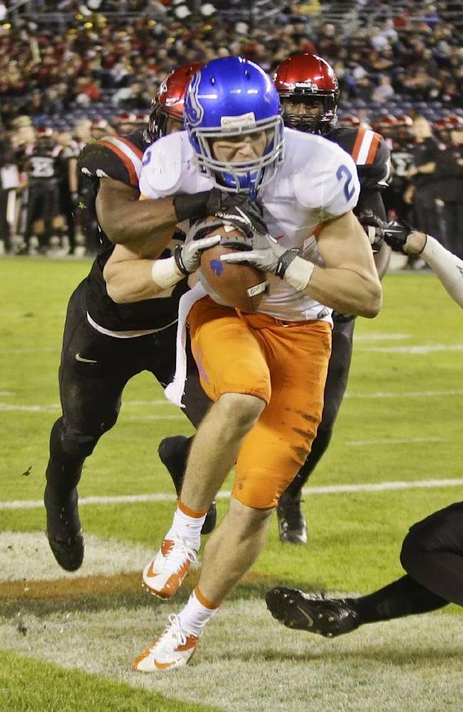 Boise State wide receiver Matt Miller plows his way into end zone after catching a 10 yard touchdown pass against San Diego State during the fourth quarter of an NCAA college football game Saturday, Nov. 23, 2013, in San Diego. San Diego State won the game 34-31 in overtime