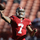 San Francisco 49ers quarterback Colin Kaepernick (7) passes during warmups before an NFL football game against the Seattle Seahawks, Sunday, Dec. 8, 2013, in San Francisco The Associated Press