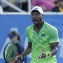 Donald Young reacts after losing a point to Ivo Karlovic, of Croatia, during the final tennis match at the Delray Beach Open, in Delray Beach, Fla., Sunday, Feb. 22, 2015. Karlovic won 6-3, 6-3. (AP Photo/Alan Diaz)