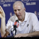 San Antonio Spurs' Gregg Popovich responds to a question during an NBA news conference, Wednesday, June 5, 2013 in Miami. The Spurs play the Miami Heat in Game 1 of the NBA Finals Thursday. (AP Photo/Lynne Sladky)