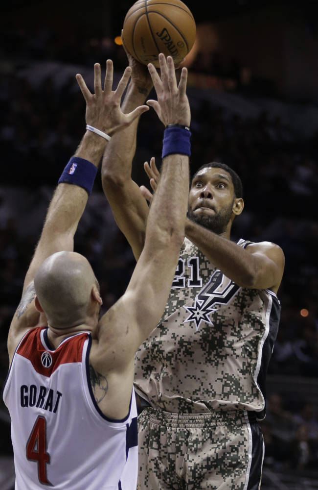 San Antonio Spurs' Tim Duncan (21) shoots over Washington Wizards' Marcin Gortat (4) during the first half of an NBA basketball game on Wednesday, Nov. 13, 2013, in San Antonio