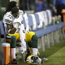 Green Bay Packers cornerback Sam Shields (37) sits on the bench late in the fourth quarter of an NFL football game against the Seattle Seahawks, Thursday, Sept. 4, 2014, in Seattle The Associated Press