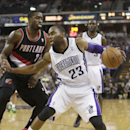 Sacramento Kings guard Marcus Thornton, right, drives against Portland Trail Blazers guard Wesley Matthews, left, during their NBA basketball game in Sacramento, Calif., Saturday, Nov. 9, 2013. The Trail Blazers won 96-85 The Associated Press