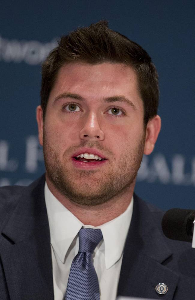 Oklahoma offensive lineman Gabe Ikard speaks during a press conference at the Waldorf-Astoria, as part of the 2013 NFF National Scholar-Athlete Class at the 56th National Football Foundation Awards ceremonies on Tuesday, Dec. 10, 2013, in New York