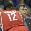 Houston Rockets coach Kevin McHale, right, talks to forward Dwight Howard (12) during a timeout in the first half of an NBA basketball game in Memphis, Tenn., Monday, Nov. 25, 2013 The Associated Press
