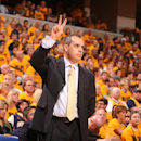 INDIANAPOLIS, IN - MAY 18:  Head Coach Frank Vogel of the Indiana Pacers gestures during the Game Six of the Eastern Conference Semifinals between the New York Knicks and the Indiana Pacers during the 2013 NBA Playoffs on May 18, 2013 at Bankers Life Fieldhouse in Indianapolis, Indiana.  (Photo by Nathaniel S. Butler/NBAE via Getty Images)