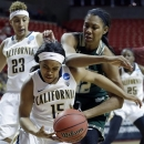 California guard Brittany Boyd (15) and South Florida center Akila McDonald (32) battle for the ball during the first half of a second-round game in the women's NCAA college basketball tournament in Lubbock, Texas, Monday, March 25, 2013. California guard Layshia Clarendon (23) watches. (AP Photo/LM Otero)