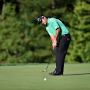Aug 25, 2016; Farmingdale, NY, USA; Patrick Reed putts on the 10th green during the first round of The Barclays golf tournament at Bethpage State Park - Black Course. Eric Sucar-USA TODAY Sports