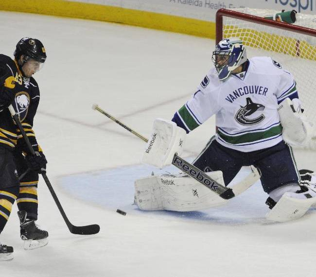 Buffalo Sabres center Tyler Ennis (63) deflects a shot at Vancouver Canucks goaltender Roberto Luongo (1) during the third period of an NHL hockey game in Buffalo, N.Y., Thursday, Oct. 17, 2013.  Vancouver won 3-0