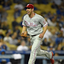 Philadelphia Phillies starting pitcher Cliff Lee reacts after throwing out Los Angeles Dodgers' Dee Gordon at first to end the eighth inning of a baseball game, Monday, April 21, 2014, in Los Angeles The Associated Press