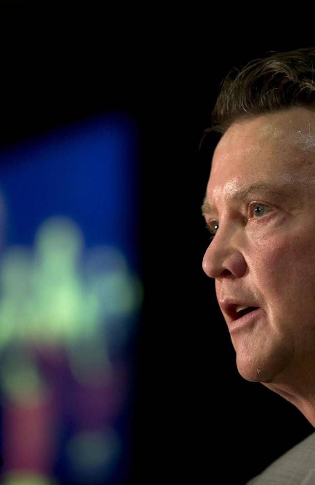 Manchester United's new manager Louis van Gaal speaks during a press conference at Old Trafford Stadium, Manchester, England, Thursday July 17, 2014. The new manager takes over after recently guiding Holland to third pace at the 2014 World Cup