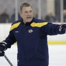 In this photo taken, Jan. 14, 2013,  Nashville Predators associate coach Peter Horachek gestures during an NHL hockey practic