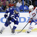 Montreal Canadiens center Daniel Briere (48) strips Tampa Bay Lightning center Nate Thompson (44) of the puck during the first period of Game 1 of a first-round NHL hockey playoff series on Wednesday, April 16, 2014, in Tampa, Fla The Associated Press