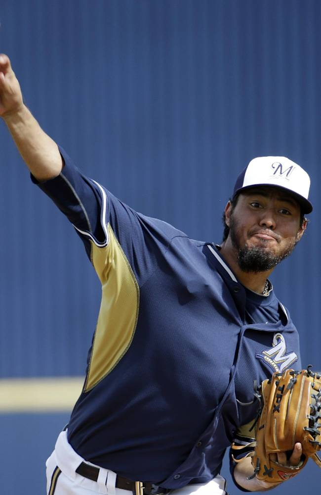 Milwaukee Brewers' Yovani Gallardo warms up for the Brewers' exhibition baseball game against the Oakland Athletics on Wednesday, March 5, 2014, in Phoenix