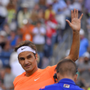 Roger Federer, of Switzerland, reacts after winning his match against Jack Sock at the BNP Paribas Open tennis tournament, Wednesday, March 18, 2015, in Indian Wells, Calif. (AP Photo/Mark J. Terrill)