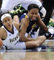 Notre Dame's Skylar Diggins, left, fights for a loose ball with West Virginia's Asya Bussie during the first half of an NCAA college basketball game in the semifinals of the Big East women's tournament in Hartford, Conn., Monday, March 5, 2012. (AP Photo/Fred Beckham)