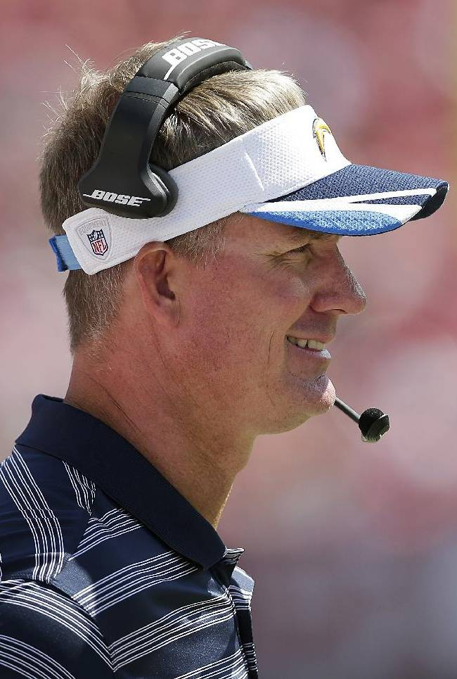 San Diego Chargers head coach Mike McCoy watches from the sideline during the third quarter of an NFL preseason football game against the San Francisco 49ers in Santa Clara, Calif., Sunday, Aug. 24, 2014