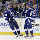 Tampa Bay Lightning defenseman Anton Stralman (6) celeborates with right wing Brett Connolly (14) after scoring against the Dallas Stars during the first period of an NHL preseason hockey game Friday, Sept. 26, 2014, in Tampa, Fla. The Associated Press