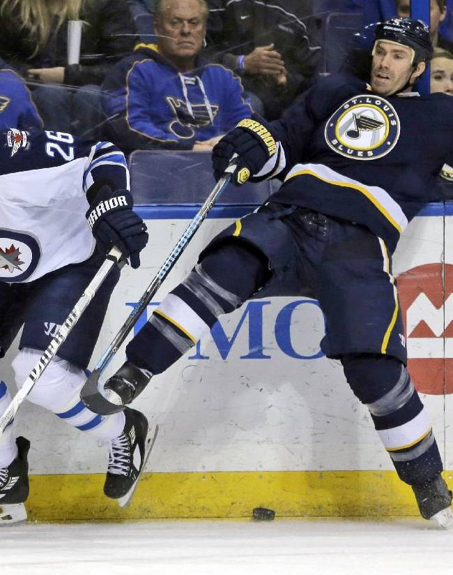 Winnipeg Jets' Blake Wheeler, left, and St. Louis Blues' Barret Jackman collide along the boards while chasing after a loose puck during the first period of an NHL hockey game Saturday, Feb. 8, 2014, in St. Louis