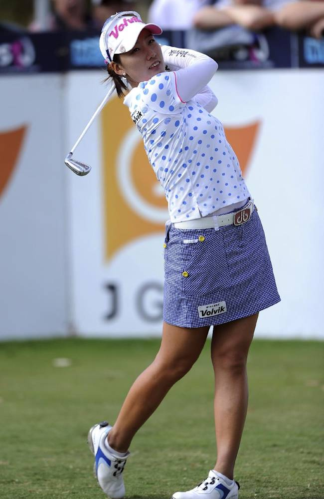 Chella Choi of South Korea drives off the sixteenth tee during the fourth round of the Australian Women's Golf Open at The Victoria Golf Club in Melbourne, Sunday, Feb. 16, 2014