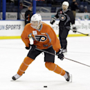 Philadelphia Flyers center Vincent Lecavalier takes a slapshot during a team practice Tuesday, Nov. 26, 2013, in Tampa, Fla. Lecavalier played for the Tampa Bay Lightning for 14 seasons. Lecavalier is playing in his first game in Tampa on Wednesday night