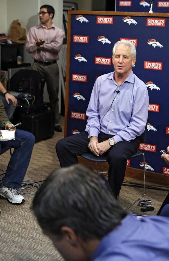 Denver Broncos head football coach John Fox speaks at a news conference at the NFL team's headquarters in Englewood, Colo.,  on Monday, Dec. 2, 2013. Fox returned to work on Monday for the first time since having heart surgery last month