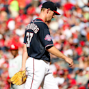 Washington Nationals starting pitcher Stephen Strasburg (37) heads to the dugout after being taken out of the game in the fourth inning during a baseball game against the Philadelphia Phillies at Nationals Park, Saturday, May 23, 2015, in Washington. (AP Photo/Andrew Harnik)