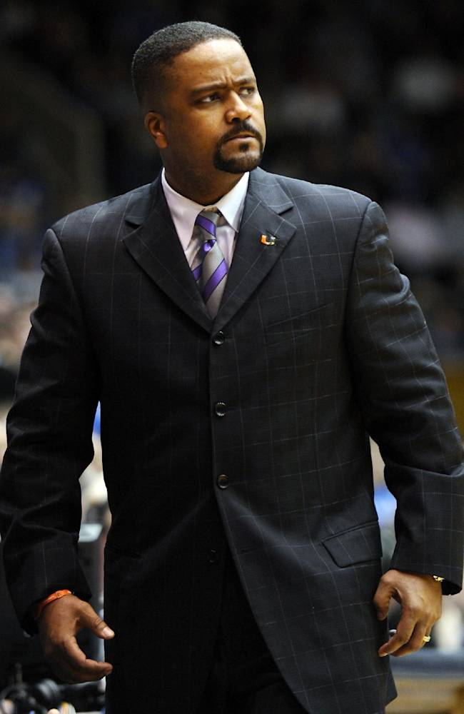 In this Jan. 2, 2011, file photo, Miami's head coach Frank Haith looks on from the sidelines during the first half of an NCAA college basketball game against Duke in Durham, N.C. Missouri men's basketball coach Haith faces a 5-game suspension after the NCAA found he failed to monitor his former assistants' interactions with a disgraced Miami booster. The NCAA released the findings of its investigation into convicted felon Nevin Shapiro's relationship with Miami athletics on Tuesday, Oct. 22, 2013. It found that then-Miami coach Haith and an assistant coach provided Shapiro $10,000 after he threatened to expose previous improper contact with high school recruits and amateur coaches