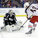 Columbus Blue Jackets left wing Scott Hartnell (43) takes a shot on Tampa Bay Lightning goalie Ben Bishop (30) during the first period of an NHL hockey game Saturday, Dec. 6, 2014, in Tampa, Fla The Associated Press