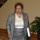 University of Miami president Donna Shalala walks to an NCAA Committee on Infractions hearing in Indianapolis, Thursday, June 13, 2013. The committee is scheduled to open its hearings into allegations the University of Miami committed rules infractions in football and men's basketball. (AP Photo/Michael Conroy)