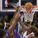 Detroit Pistons center Andre Drummond (0) dunks in front of Oklahoma City Thunder forward Serge Ibaka (9) in the third quarter of an NBA basketball game in Oklahoma City, Wednesday, April 16, 2014. Oklahoma City won 112-111 The Associated Press