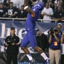 Boise State's Jamar Taylor intercepts a Brigham Young pass during the first half of an NCAA college football game Thursday, Sept. 20, 2012, in Boise, Idaho. (AP Photo/Matt Cilley)
