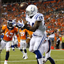 Indianapolis Colts wide receiver Hakeem Nicks (14) manages to hod onto a touchdown pass against the Denver Broncos during the second half of an NFL football game, Sunday, Sept. 7, 2014, in Denver The Associated Press