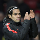 Manchester United's Radamel Falcao applauds supporters after the English Premier League soccer match between Manchester United and Leicester at Old Trafford Stadium, Manchester, England, Saturday Jan. 31, 2015