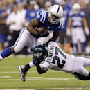 Indianapolis Colts running back Ahmad Bradshaw (44) is tackled by Philadelphia Eagles free safety Malcolm Jenkins (27) during the first half of an NFL football game Monday, Sept. 15, 2014, in Indianapolis The Associated Press