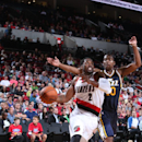 PORTLAND, OR - OCTOBER 9: Wesley Matthews #2 of the Portland Trail Blazers drives to the basket against the Utah Jazz on October 9, 2014 at the Moda Center in Portland, Oregon. (Photo by Sam Forencich/NBAE via Getty Images)