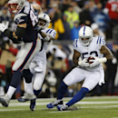 File - In this Sunday, Jan. 18, 2015, file photo, Indianapolis Colts inside linebacker D'Qwell Jackson (52) intercepts a pass intended for New England Patriots tight end Rob Gronkowski during the first half of the AFC championship NFL football game in Fox