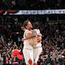 CHICAGO, IL - MARCH 05: Pau Gasol #16 and E'Twaun Moore #55 of the Chicago Bulls celebrate during a game against the Oklahoma City Thunder on March 5, 2015 at the United Center in Chicago, Illinois. (Photo by Randy Belice/NBAE via Getty Images)