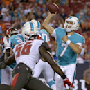 Miami Dolphins quarterback Brady Quinn (7) throws a pass as he is pressured by Tampa Bay Buccaneers defensive end Chaz Sutton (56) during the fourth quarter of an NFL preseason football game Saturday, Aug. 16, 2014, in Tampa, Fla. The Dolphins defeated th