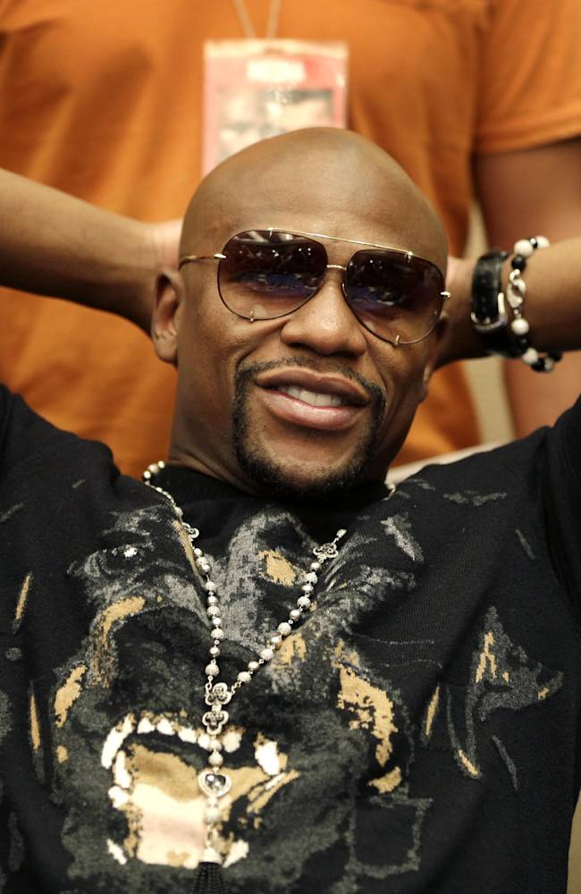 Floyd Mayweather talks to reporters during a news conference in New York, Monday, July 14, 2014. Mayweather will fight Marcos Maidana for the second time in Las Vegas, Nevada on Sept. 13, 2014