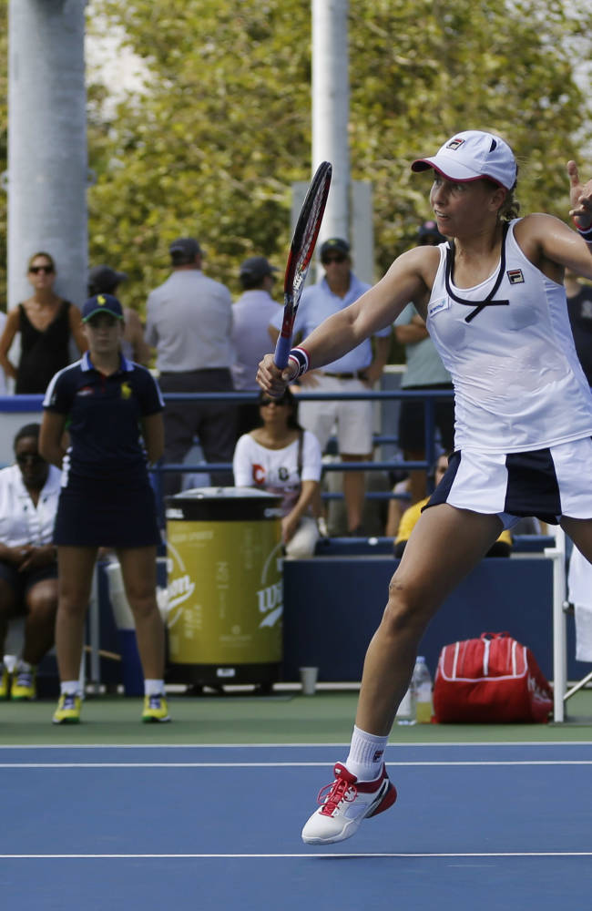 Marina Erakovic, of New Zealand, during the first round of the 2014 U.S. Open tennis tournament, Tuesday, Aug. 26, 2014, in New York